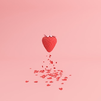 Papier hart vallen van de rode aardbei, valentijn concept.