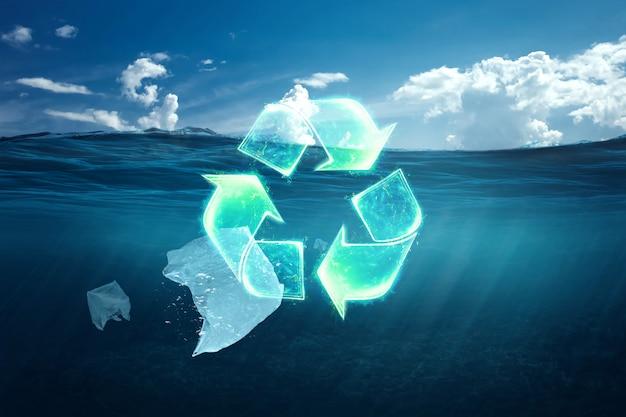 Papier in de zee. aarde dag concept