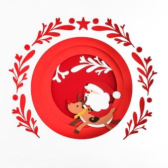 Papier kerst kopie ruimte bal santa en rendieren