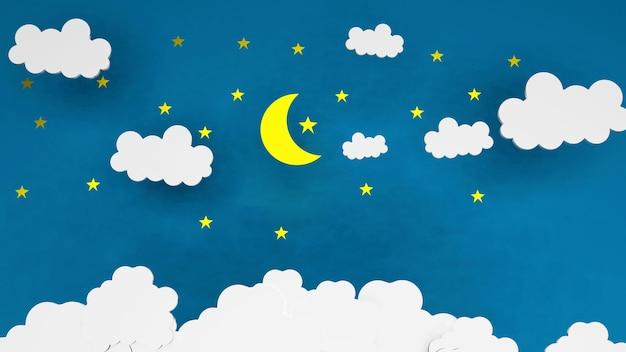 Papier kunst goede nacht en zoete dromen sterren en nachtelijke hemel nacht concept en origami origami gele maan met witte wolken en sterren op blauwe achtergrond