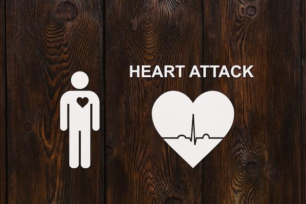 Papier man met echocardiogram en tekst