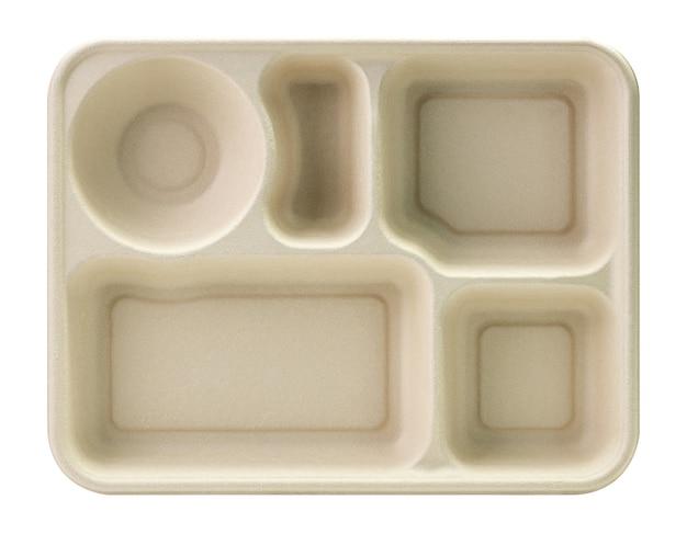 Papierbakgat voor voedselcontainer geïsoleerd op wit met uitknippad