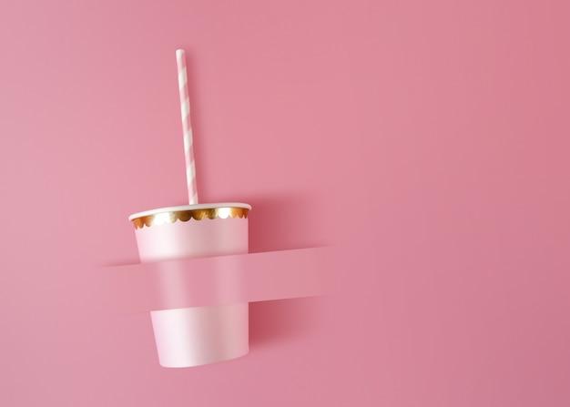 Papieren beker met rietjes op roze viering