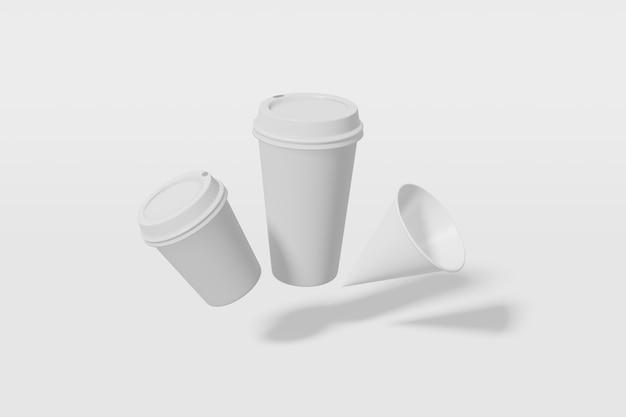 Papieren bekers met een deksel op een witte achtergrond 3d-rendering