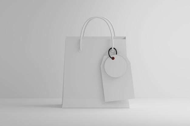 Papieren boodschappentas met hangende etiketten en blanco oppervlak op wit oppervlak