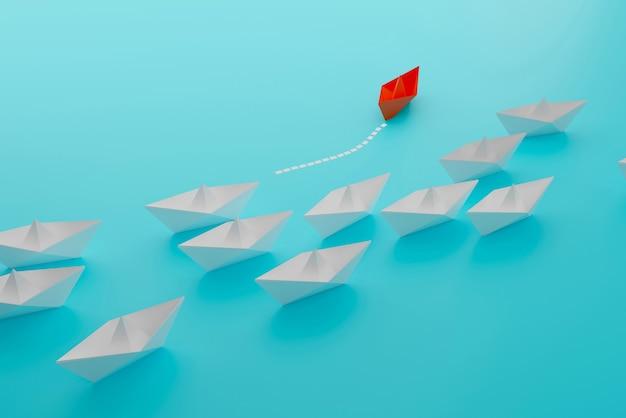 Papieren boot neemt de leiding van een witte papieren boot, anders denken dan succes, 3d-illustratieweergave