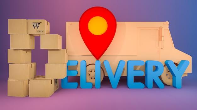 Papieren doos is gerangschikt in een d-vorm met bezorgingslettertype en rode speldenwijzers. online winkelen en leveringsconcept.