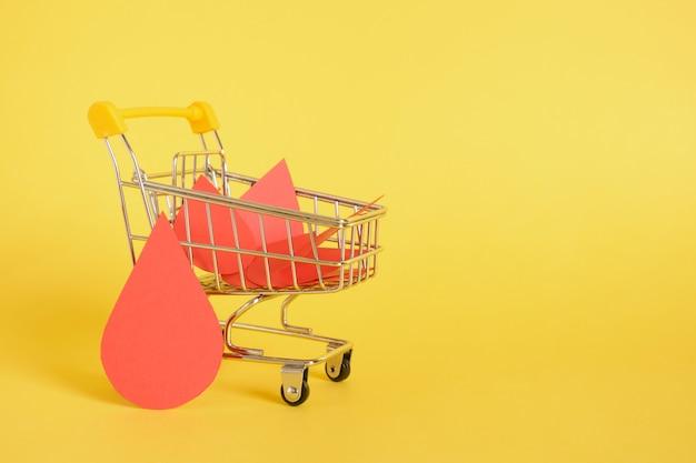 Papieren druppels bloed en winkelwagentje op geel