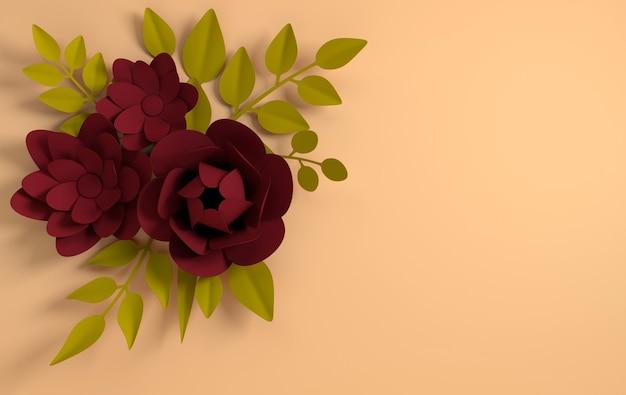 Papieren elegante donkerrode bloemen op beige