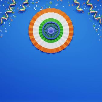 Papieren indiase vlag ronde vorm met sterren en driekleurige linten versierd op blauwe achtergrond.
