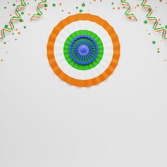 Papieren indiase vlag ronde vorm met sterren en driekleurige linten versierd op grijze achtergrond.