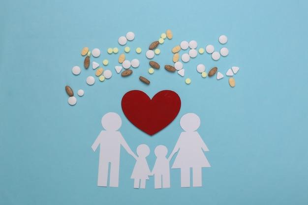Papieren kettingfamilie, pillen en rood hart op blauw, zorgverzekeringsconcept