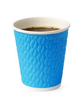 Papieren kopje koffie geïsoleerd op een witte achtergrond