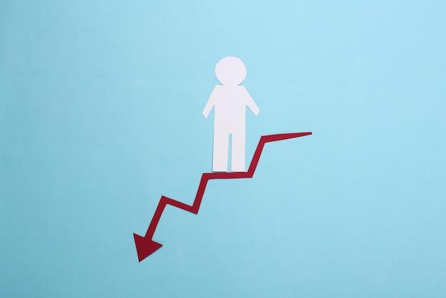 Papieren man daalt af langs een rode gebogen pijl die naar beneden neigt. blauw. symbool van financiële en sociale degradatie, trap naar toevlucht
