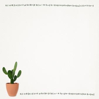 Papieren notitieachtergrond met cactusplant