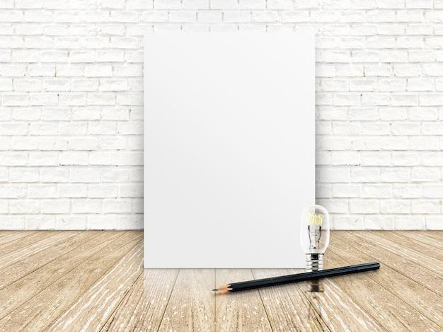 Papieren poster op de witte bakstenen muur en de houten vloer, sjabloon voor uw inhoud