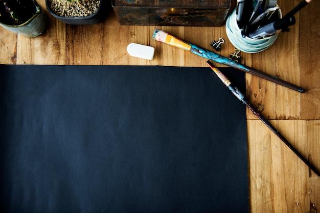 Papieren potlood pen gumtekening