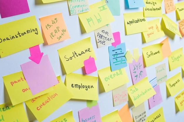 Papieren stickers voor aantekeningen op de muur