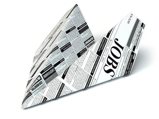 Papieren vliegtuigje uit de banenkrant