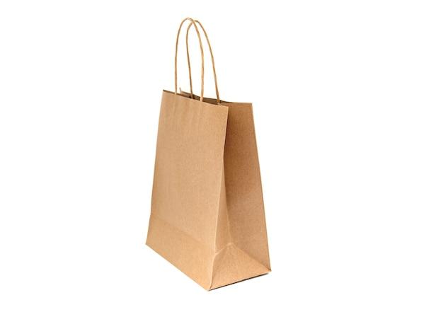 Papieren zak, lege zak, handvat geïsoleerd