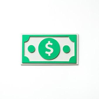 Papierkunst van een dollarbiljet