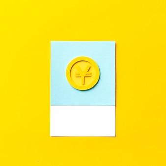 Papierkunst van een japanse yen-munt