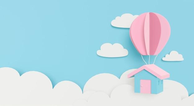 Papierkunst van pastel huis hangende ballon op wolk achtergrond.
