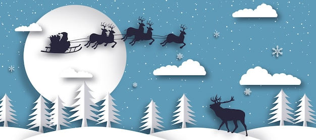 Papierkunstlandschap van kerstmis en gelukkig nieuwjaar
