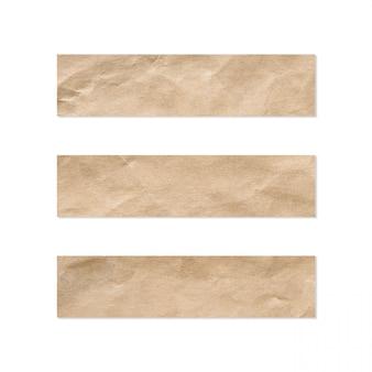 Papierset-set. sluit omhoog van een stuk van notadocument op een witte achtergrond.