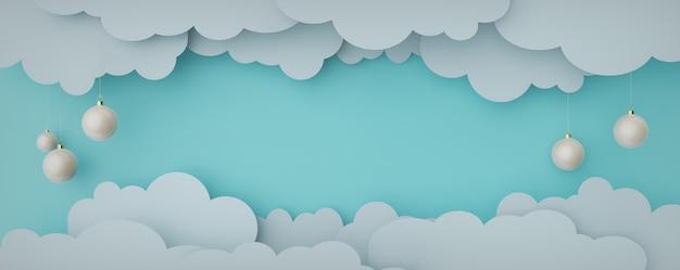 Papierwolken uitgesneden kerstballen hangen gelaagde feestelijke achtergrond voor de webpagina
