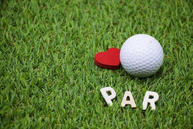 Par met liefde en golfbal zijn op groen gras