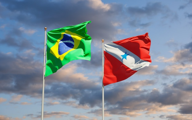 Para brazilië vlag. 3d-illustraties
