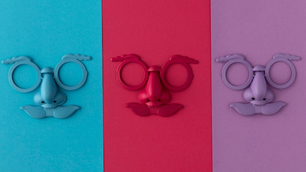 Parade gekleurd masker en accessoires
