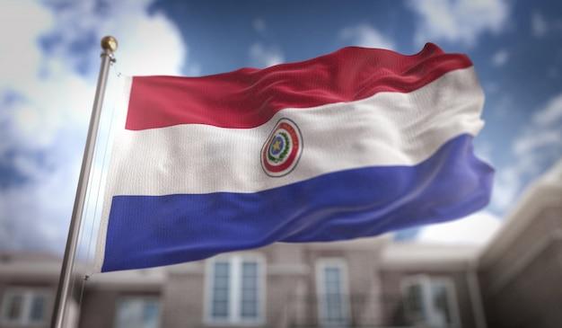 Paraguay vlag 3d-rendering op de achtergrond van de blauwe hemel