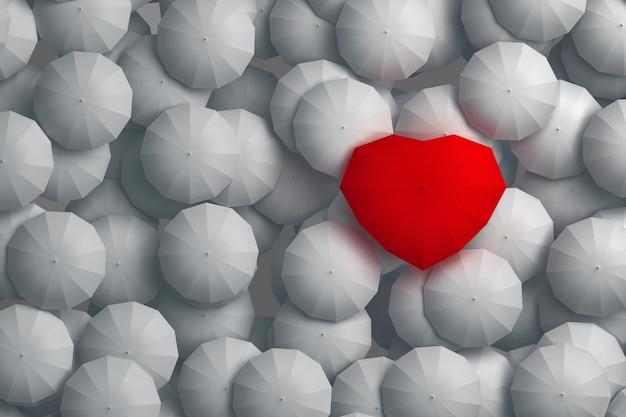 Paraplu hartvorm torenhoog boven andere paraplu's. 3d illustratie