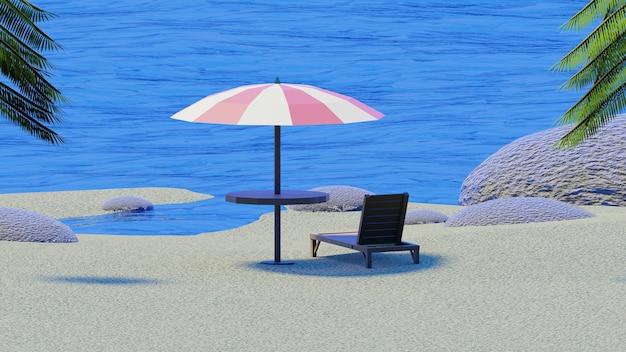 Parasol stoel genieten van blauwe lucht met palmbomen in isometrische 3d render