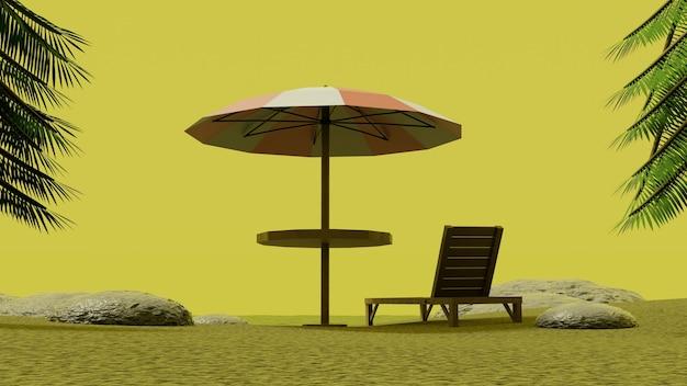 Parasol stoel genieten van gele lucht met palmbomen