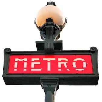 Parijs metro teken geïsoleerd over de witte achtergrond
