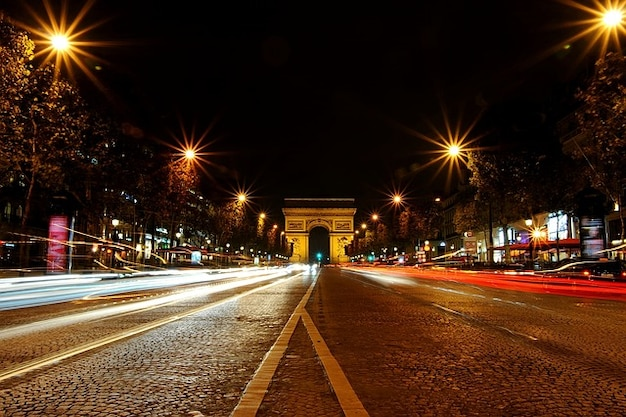 Parijs triomphe arc schot de monument nacht