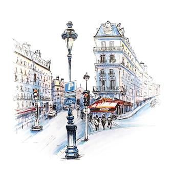 Parijse straat met traditionele huizen, cafés en lantaarns, paris, frankrijk. foto gemaakte markeringen