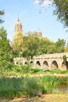 Park in de buurt van de romeinse brug in salamanca, spanje