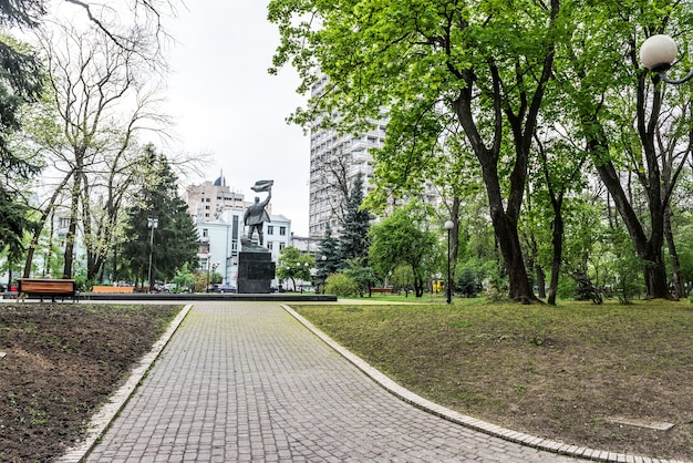 Park in de oekraïne green forest-weg