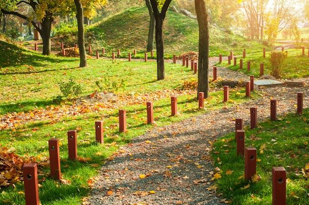Park in japanse stijl met rode gele esdoornbomen