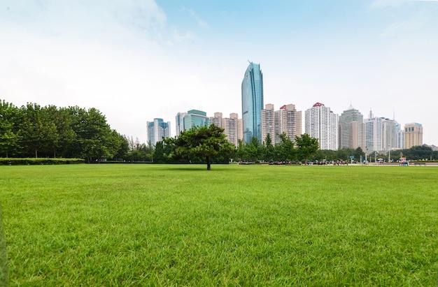 Park met bomen en gebouwen op de achtergrond