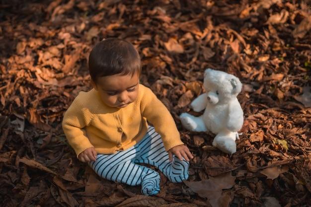 Parkeer in een herfstzonsondergang, zes maanden oude baby zit in de bladeren van de bomen met een witte teddybeer