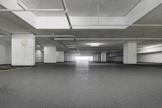 Parkeerplaats ruimte met grunge textuur stijl. 3d-weergave