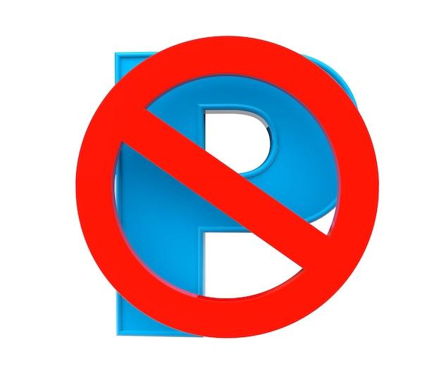 Parkeren is niet toegestaan verboden teken geïsoleerd op een witte achtergrond