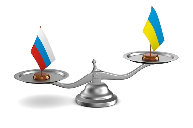 Parley tussen rusland en oekraïne witte achtergrond. 3d illustratie