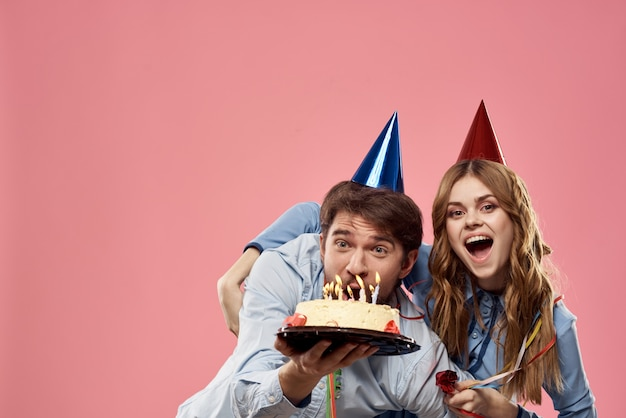 Partij man en vrouw corporate roze muur leuke cake cap.