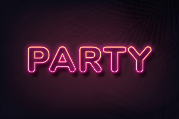Party neon stijl typografie op zwarte achtergrond